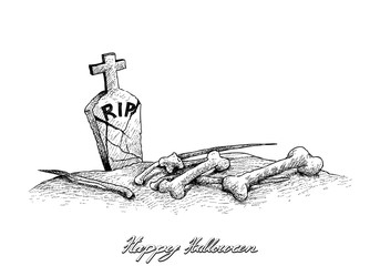 Holidays And Celebrations, Illustration Hand Drawn Sketch of Graveyard with Tombstones and Bones, Sign for Halloween Celebration.