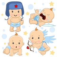 A set of illustrations of icons of baby of children of boy standing in a hat, crying and in hysterics, creeps on all fours, an angel shoots arrows from an onion with a heart.