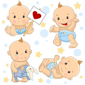 A set of illustrations of icons of baby of children of boy strikes with a sign, goes scary with the tongue sticking out, stands with a hare toy rattled, an angel with wings and with arrows of love.