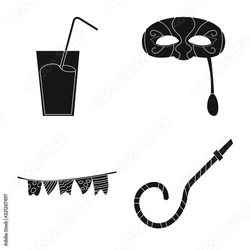 vector design of party and birthday symbol set of party and