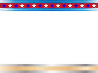 Decorative American abstract flag border with empty space for your text and images.