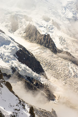 Rock structure of Mont-Blanc Montain with snow, french alps