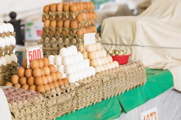 Eggs for sale at traditional uzbekistan bazaar.