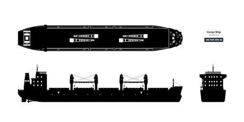 Black silhouette of cargo ship on white background. Top, side and front view of tanker. Container boat blueprint