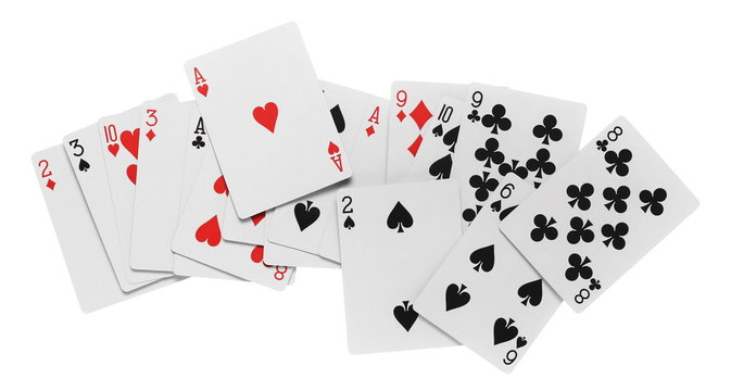 Playing cards for poker and gambling, isolated on white background with clipping path