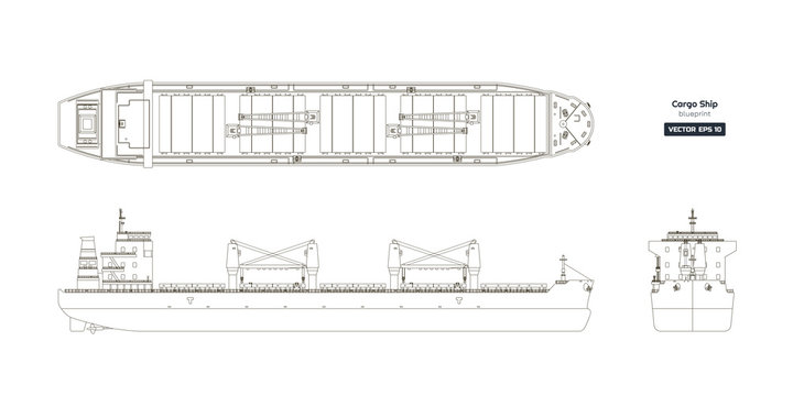 Outline drawing of cargo ship on a white background. Top, side and front view of tanker. Container boat blueprint