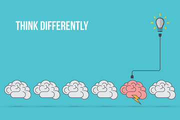 Think differently - Being different, standing out from the crowd -The graphic of brain also represents the concept of individuality , confidence, uniqueness, innovation, creativity.
