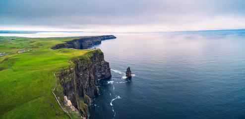 Aerial panorama of the scenic Cliffs of Moher in Ireland