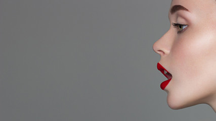 Perfect smile. Sexy Lips. Beauty Red Lip Makeup Detail. Beautiful Make-up Closeup. Sensual Open Mouth. lipstick or Lipgloss. Kiss. Beauty Model Woman