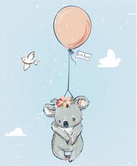 Little koala with balloon