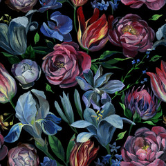 Seamless pattern of different flowers and leaves on black background