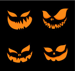 Set of scary faces for Halloween pumpkin