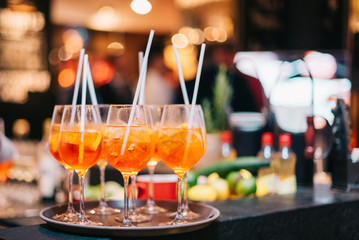 Plastic straws in use   Party Background  aperitif prosecco drink alcohol night club