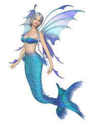 Bright Blue Mermaid Fairy - fantasy illustration