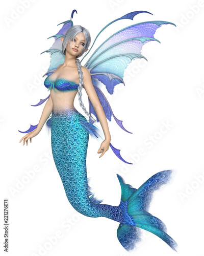 """Bright Blue Mermaid Fairy - fantasy illustration"" Stock photo and royalty-free images on Fotolia.com - Pic 221276071"