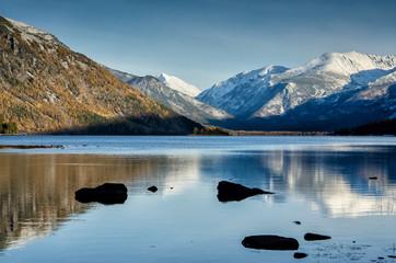 Sunrise light in this quite mountain lake