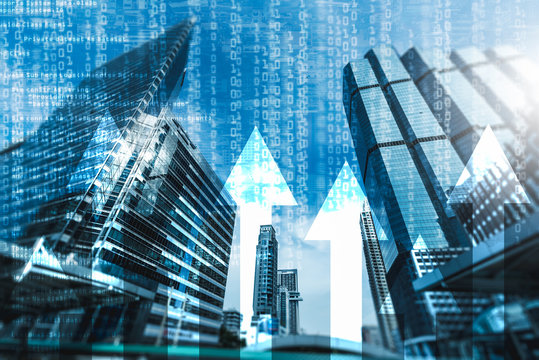 the abstract image of the skyscraper image overlay with business chart and binary code image. the concept of accounting, technology, economy and programmer.