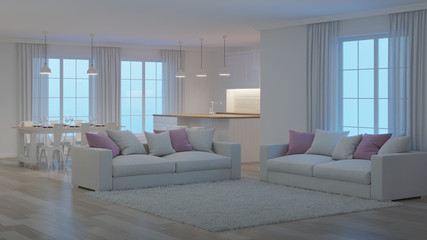 Modern house interior. White interior. Night. Evening lighting. 3D rendering.