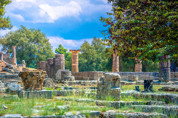 Wall Mural - The ruins of ancient Olympia, Greece. Here takes place the touch of olympic flame.