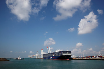 The CMA CGM Antoine de Saint Exupery container ship sits docked during its official inauguration in Le Havre