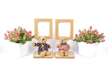 Wooden Picture Frame and Cute Bear On a white background.