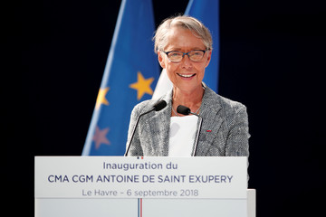 French Transport Minister Elisabeth Borne delivers a speech during the official inauguration of the CMA CGM Antoine de Saint Exupery container ship in Le Havre