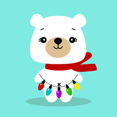 Christmas card. Polar bear. Bear with a garland.