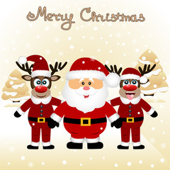 Christmas card. Funny postcard with Christmas reindeers and Sant