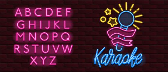 Vector Neon glow banner karaoke bar music