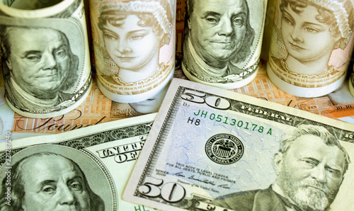 American Dollars And British Pounds Stock Photo Royalty
