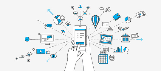 Connected on mobile device infographics. Internet of things concept. Modern illustration in linear style.