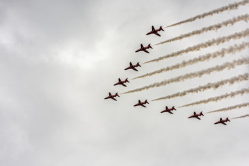 The RAF 100th Anniversary fly pass over London. In this photo are the Red Arrows