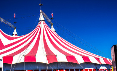 Red & White Circus Tent Top