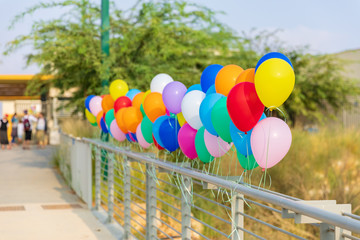 Multicolored balloons at entrance