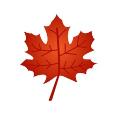 Red maple leaf flat icon isolated on white background. Vector illustration. Leaf symbol.