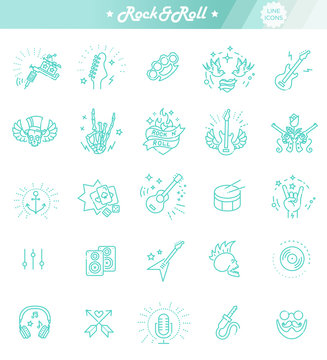 Rock and Roll line icon set. Vector icons