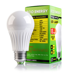 Energy saving LED lamp and packaging isolated 3d