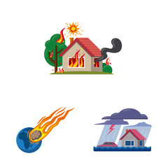 Vector illustration of natural and disaster symbol. Collection of natural and risk vector icon for stock.