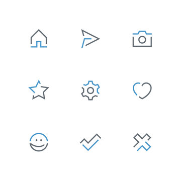Colored outline icon set - home, paper airplane, photo camera, star, gear wheel, heart, smile face, check mark and cross symbol. Internet, website and social network vector signs.