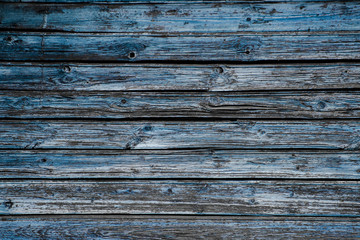 Wall of wooden blue boards