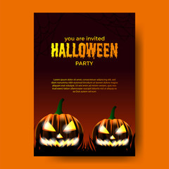 poster halloween party with scary pumpkins. banner flyer template. celebration invitation. vector illustration