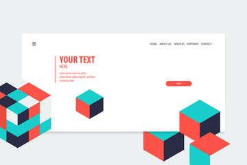 Minimal creative isometric web banner