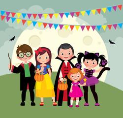 Children having fun on Halloween night party vector illustration