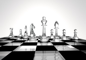 Chess business concept, leader & success, 3d illustration
