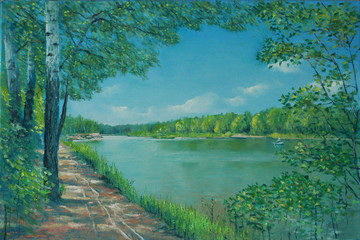 Landscape by the lake. Painting. Painting with oil paints