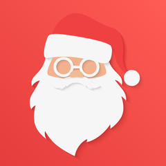 Christmas greeting card. Santa Claus portrait face in trendy paper cuted style vector illustration.