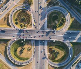 Aerial landscape of busy highway junction road, Transport concept