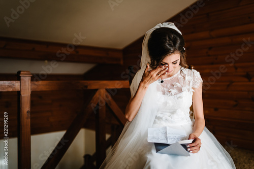 Beautiful Bride Reading Letter From The Groom For Love S Tears Of Hiness Joy