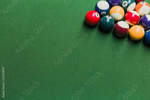 Pool Table Setup >> Close Up Of Pool Billiards Snooker Balls On Green Table With Setup