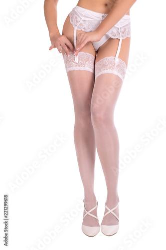 accdde65bac Sexy female legs and body in white garter belt